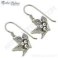 Antique Style Plain Silver Earrings