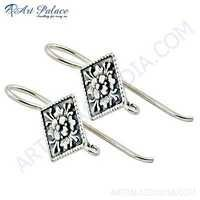 Ethnic Deisgner Plain Silver Stylish Earrings