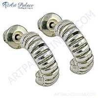 Girls Fashionable Plain Silver Earrings