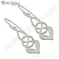 Fret Work Designer Plain Silver Earrings