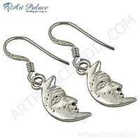 Cute Half Moon Style Plain Silver Earrings