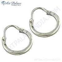 Indian Plain Silver Hoop Earrings