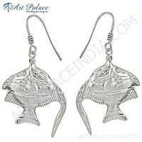 Fish Style Plain Silver Earrings