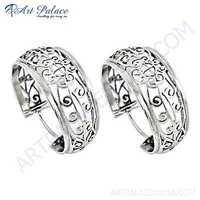 Plain Silver Fret Work Designer Earrings