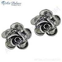 Pretty Flower Style Plain Silver Earrings