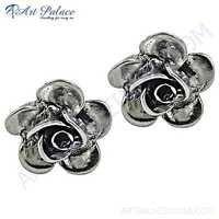 Pretty Flower Style Plain Silver Earrings