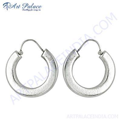 Plain Silver Round Hoop Earrings