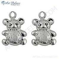 Cute Teddy Bear Style Plain Silver Earrings