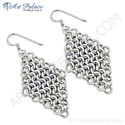 Fashionable Fret Work Plain Silver Earrings
