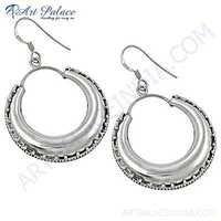 Plain Silver Ethnic Deisgner Earrings