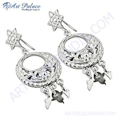 Fastival Wear Plain Silver Earrings