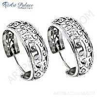 Fret Work Designer Plain Silver Hoop Earrings