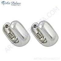 Antique Style Plain Silver Girls Wear Earrings