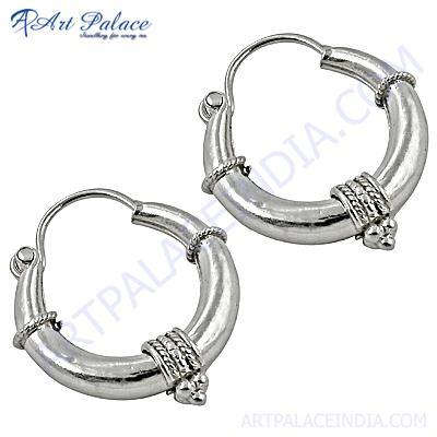 Indian Touch Plain Silver Hoop Earrings
