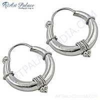 Indian Touch Plain Silver Hoop Earrings