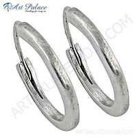 Plain Silver Wholesale Handmade Hoop Earrings