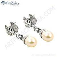 Glamours Pearl Silver Antique Earrings