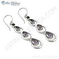 Precious Antique Amethyst Gemstone Silver Earrings