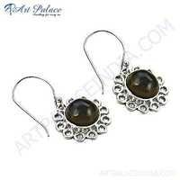 Party Wear Smokey Quartz Gemstone Sterling Silver Gemstone Earrings