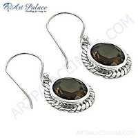 Indain Designer Smokey Quartz Gemstone Earrings