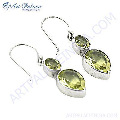 Graceful Glamour Citrine Gemstone Silver Earrings