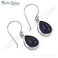 Celeb Style Amethyst Gemstone Sterling Silver Earrings