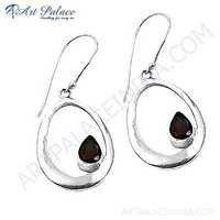 Latest Fashionable Garnet Gemstone Silver Earrings