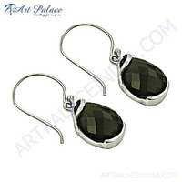New Arrival Smokey Quartz Gemstone Silver Earrings