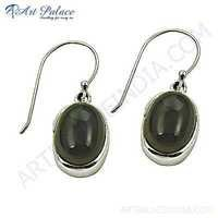 Trendy Smokey Quartz Gemstone Silver Earrings