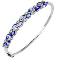 Marquise Cut Blue Tanzanite White Gold Half Bangle