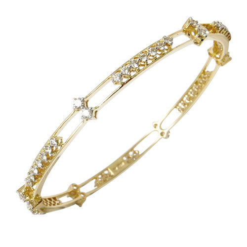 Double Row Simple Yellow Gold Diamond Bangle