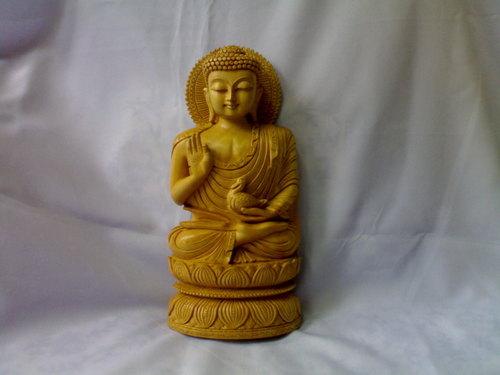 Wooden Sitting Buddha Statue