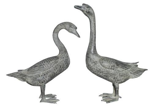 Aluminium Geese Pair