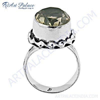 Dazzling Smokey Quartz Gemstone German Silver Rings