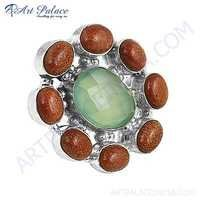Fastival Wear Aqua Calchydony & Synthetic Brown Sandstone German Silver Rings