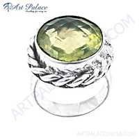 Charming Lemon Quartz Gemstone German Silver Jewelry Rings