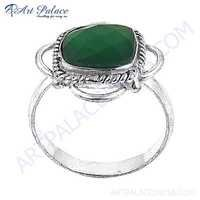Antique Style Green Quartz Gemstone German Silver Rings
