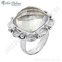 Classic Crystal Gemstone German Silver Designer Rings