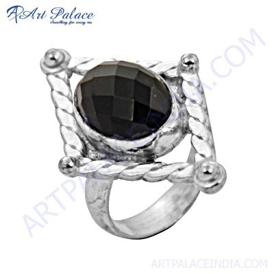 Celeb Style Black Spinel Gemstone German Silver Ethnic Rings