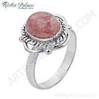 Indian Touch Rhodochrosite Gemstone German Silver Ring