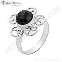 Midnight Black Onyx Gemstone German Silver Ring