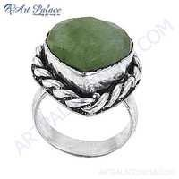 Cute Heart Style Green Aventurian Gemstone German Silver Designer Ring
