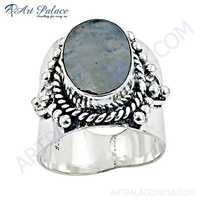 Fastival Designer Rainbow Moonstone German Silver Ring