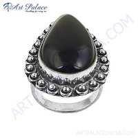 Nightlife Black Onyx Gemstone German Silver Designer Ring