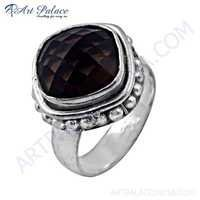 Celeb Style Smokey Quartz Gemstone German Silver Ring