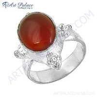 Hot !! Dazzling Red Onyx Gemstone German Silver Ring