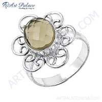 Charming Smokey Quartz Gemstone German Silver Ring