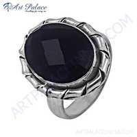 Midnight Black Onyx Gemstone Designer German Silver Ring