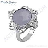Truly Designer Crystal Gemstone German Silver Ring