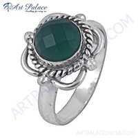 Fashion Accessories Green Onyx Gemstone German Silver Ring